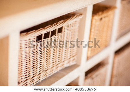 storage baskets, soft focus