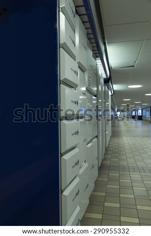 Storage compartments in a public place - stock photo