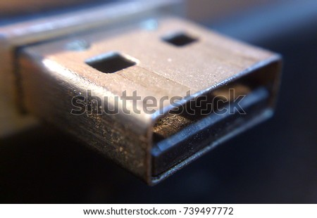 Storage data stick universal serial bus connector photographed with macro lens