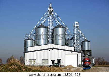 Storage of grain, in metal silos - stock photo