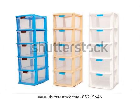 Storage office plastic box on isolated white background - stock photo