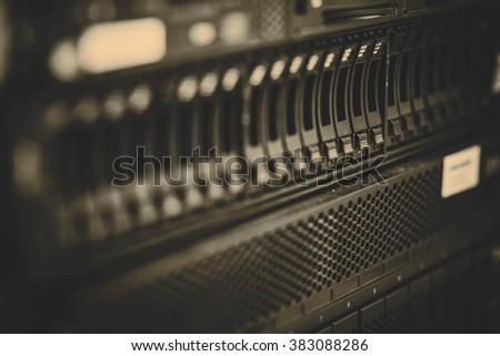 storage or file server. harddisk in server room - stock photo