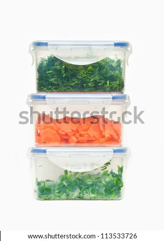 storage plastic containers with food isolated on white background - stock photo