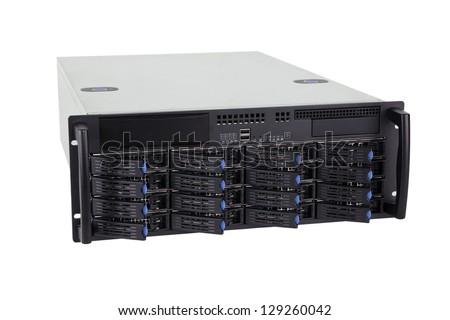 Storage server on white background - stock photo
