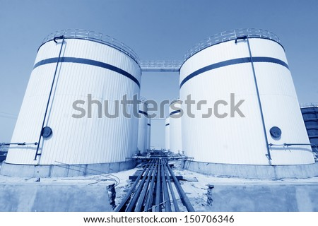 storage tanks in a chemical plant, north china - stock photo
