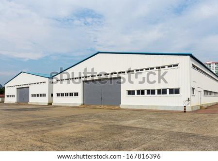 Storage warehouse at outdoor - stock photo