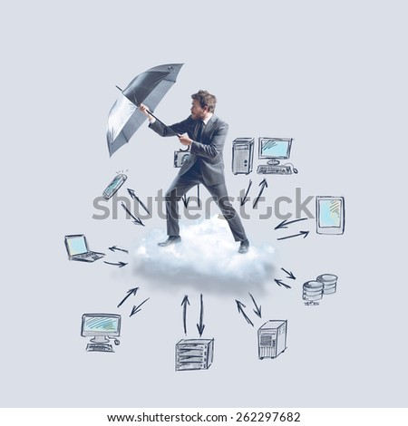 Store and archive data through the cloud - stock photo
