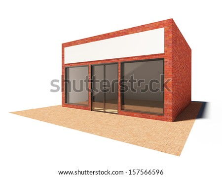 Store building with showcase and billboard - stock photo