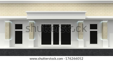 Store front with empty window - stock photo