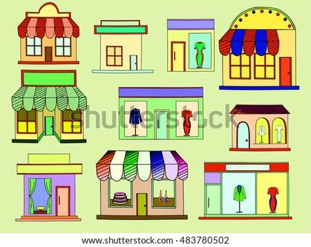 Store Isolated On White Background Raster Illustration Shops And Supermarket Buildings Flat Decorative Icons Set