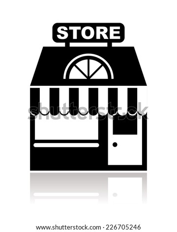 store, shop or market in black and white - stock photo