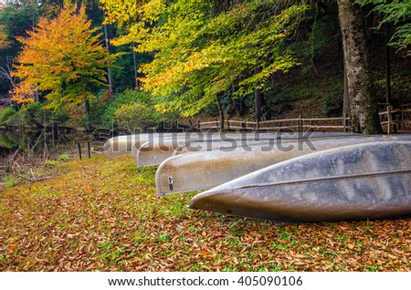 Stored canoes and fall foliage in the Appalachian Mountains - stock photo