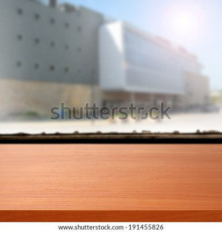 storefront and red desk  - stock photo