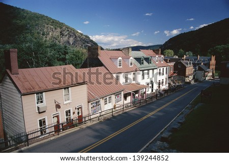 Storefronts in Harpers Ferry, WV - stock photo
