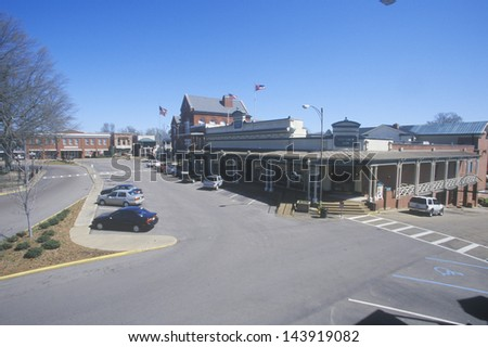 Storefronts in town center of old southern town in Historic Oxford, MS - stock photo