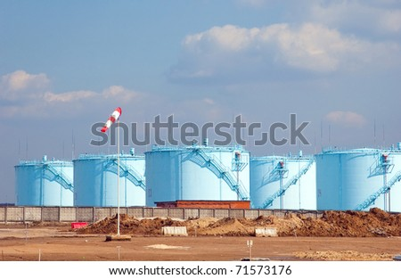 Storehouse of aviation fuel in airdrome - stock photo