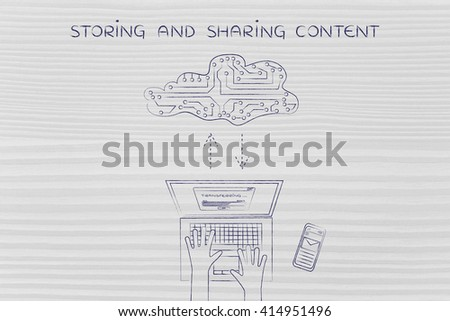 storing and sharing content: laptop user transferring data to and from a cloud made of electronic circuits, flat illustration - stock photo