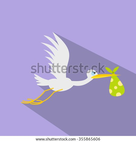 Stork baby flat icon for web and mobile devices - stock photo