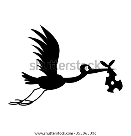 Stork baby simple icon for web and mobile devices - stock photo