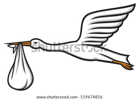 stork carrying a baby in its beak (stork flying with bundle, stork delivering a baby) - stock photo