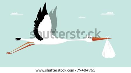 Stork Delivering Baby/ Illustration of a cartoon stork delivering baby as the legend told us - stock photo