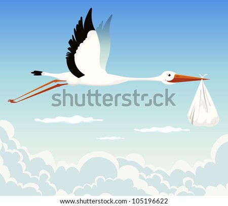 Stork Delivering Baby/ Illustration of a stork delivering baby in a bag for birth announcement, newborn  holidays celebration and anniversaries - stock photo