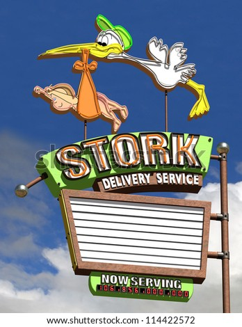 Stork Delivery Service with Cloud Background - stock photo