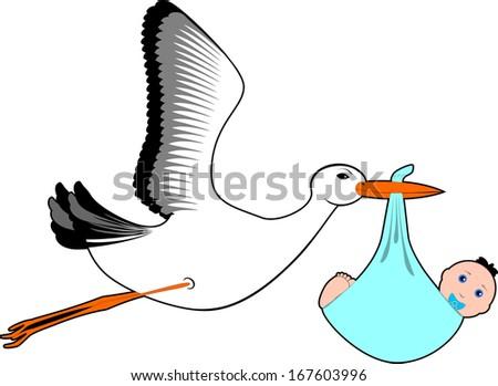 Stork  with baby boy - Stock Illustration - stock photo