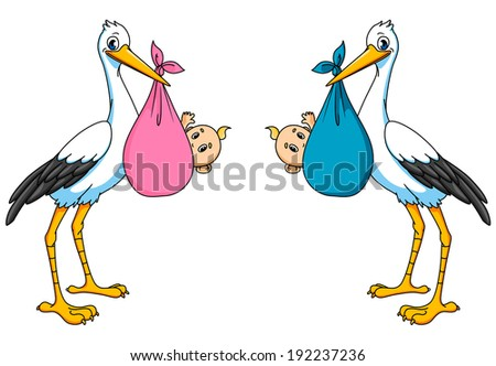 Stork with boy and girl for newborn or childbirth concept design. Vector version also available in gallery - stock photo
