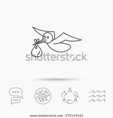 Stork with sack icon. Newborn baby symbol. Global connect network, ocean wave and chat dialog icons. Teamwork symbol. - stock photo