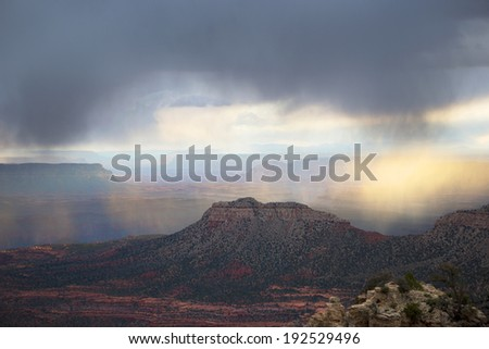 Storm above Grand Canyon, Arizona, USA - stock photo