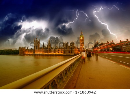 Storm and car light trails over Westminster Bridge - London. - stock photo