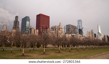 Storm Approaches Spring Time Scene Chicago Illinois City Skyline - stock photo