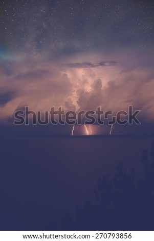 Storm at sea with lightning