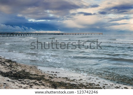 Storm at the famous marine pier in resort city of Palanga, Lithuania, Europe