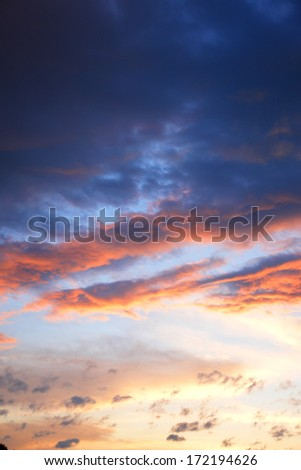 storm, bad weather clouds at sunset  - stock photo