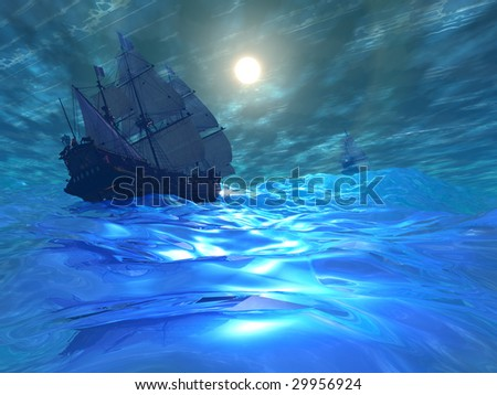 STORM BREWING - Two ships navigate high seas on this stormy night. - stock photo