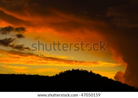 Storm building at sunset in Africa