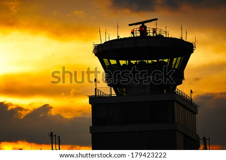 Storm cloud above Prague Airport, Czech Republic - stock photo