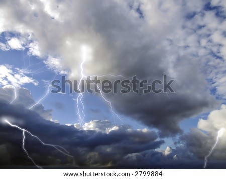 Storm clouds and lightning captured during approach of stormfront over the Mediterranean Sea