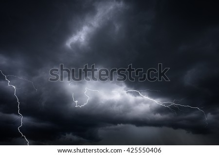 Storm clouds and lightnings - stock photo