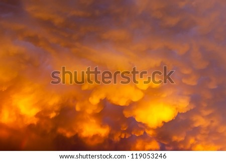 Storm clouds at sunset which have depth both an interesting form and illumination