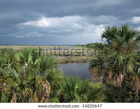 Storm clouds Building over St Marks Wildlife Refuge, Gulf of Mexico, Florida, USA