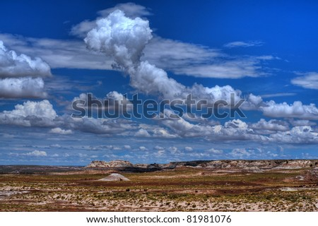 Storm clouds forming over the high desert - stock photo