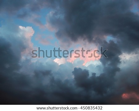 storm clouds in rich colors over the new mexico desert - stock photo