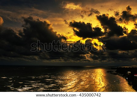 Storm clouds in the sky in the sea.clouds nature.sky nature. sea nature.storm nature. - stock photo