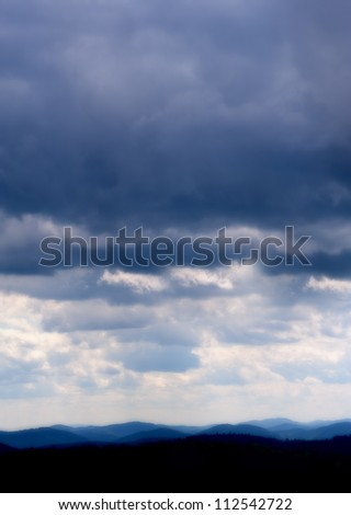 Storm clouds over Blue Ridge Mountains - stock photo