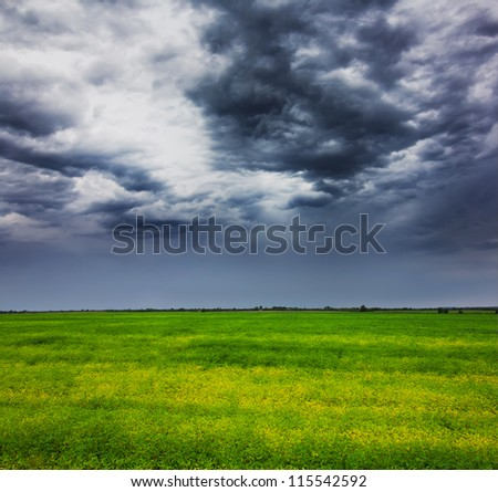 Storm clouds over field with green grass - stock photo