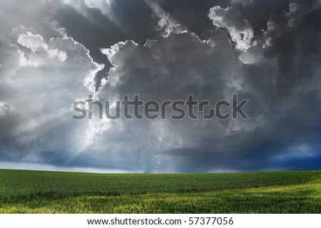 Storm clouds over field with green grass.
