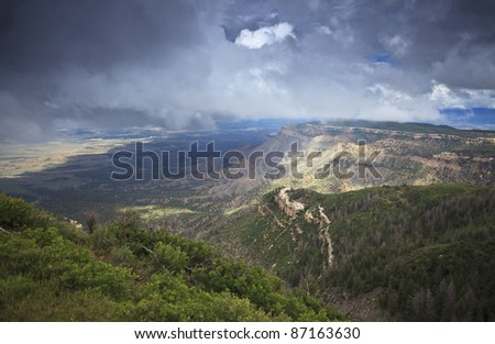 Storm clouds over Mesa Verde National Park in Colorado - stock photo